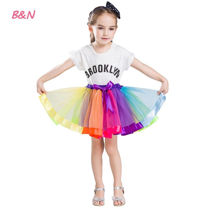 B & N Filles Arc-En-Tutu Jupe Princesse Mini Tulle Pettiskirt Avec Ruban Arc Casual Filles D'anniversaire Danse De Soirée Bal robe Costume