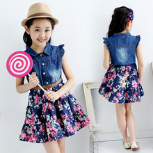 цена на Girls Denim Dress Summer Children Clothing Flower Sleeveless Princess Dresses Girls Clothes Kids Party Dress 4 6 8 10 12 Years