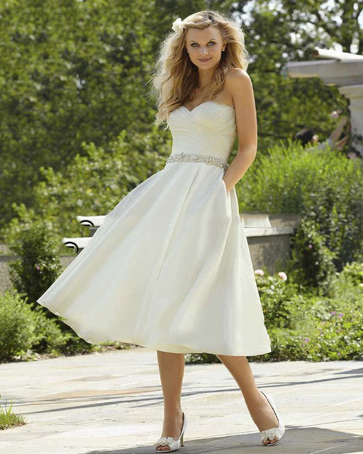 New Style Pockets Sweetheart A Line Beaded Belt Knee Length White ...