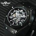 WINNER военные автоматические механические часы для мужчин резиновый ремешок 3D полый циферблат Модные мужские s часы лучший бренд эксклюзивны...