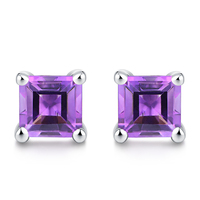 Swear 1 0ct Genuine Natural Amethyst Sterling Silver Square Stud Earrings 5mm
