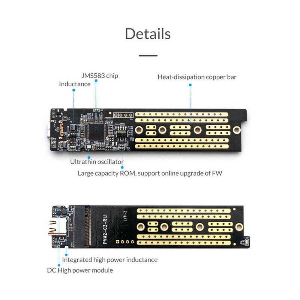 De aleación de aluminio tipo C 3,1 de disco duro móvil caja de M clave USB3.1 PCIE PCI-E tipo C SSD adaptador caso NVME M.2 HDD