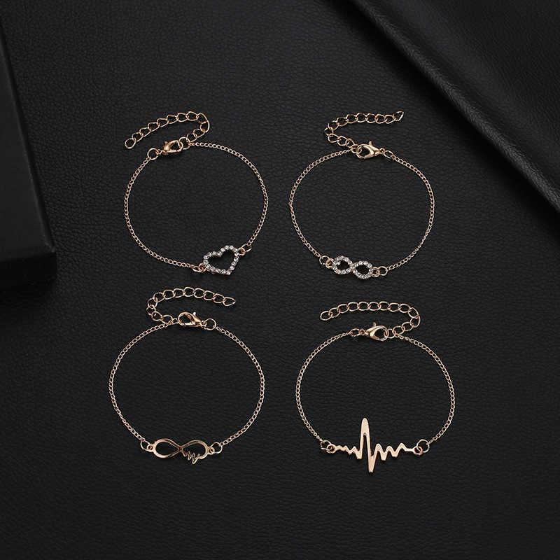 2019 czeski 4 sztuk kobiety mężczyźni w stylu Vintage kryształowe koraliki bransoletka zestaw złoty kolor 8 słowo list miłość serce Homme modna biżuteria na prezent