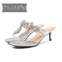 MLJUESE 2019 women slippers Soft Cow leather Rome style summer crystal open toe pink color beaches sandals party size 34 43