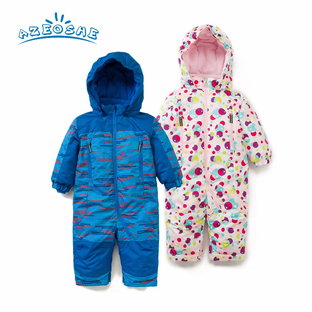 AZEOSHE baby   romper   for autumn winter ,baby girl pink polka dot snowsuit ,baby boy blue   romper   windproof and waterproof