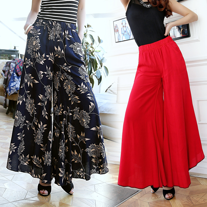 Summer slim fluid   wide     leg     pants   female trousers fancy plus size   wide  -  leg     pants   feet straight casual boot cut