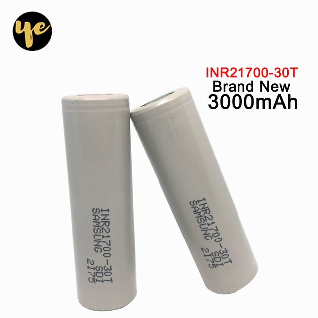 2pcs  for Samsung INR21700-30T 30T bateria 21700 3000mah 35A 3.7V rechargeable high drain battery with flat top PK NCR21700A