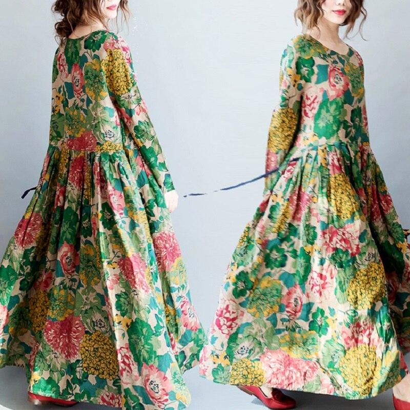 Detail Feedback Questions about Ethnic Style Spring Autumn Women Maxi Long  Dress Plus Size Loose Vintage Female Gown Vestidos Cotton Linen Elegant  Floral ... 996c7c0fd0a8