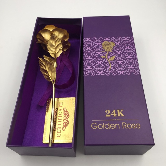 Wedding Favor Never Fade 24k Gold Rose New Year Decoration Valentine