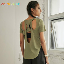 Colorvalue Sexy Back Open Fitness Training Sport T-shirt Women Summer Thin Styles Loose Fit Gym Running Tee Short-sleeved Shirts