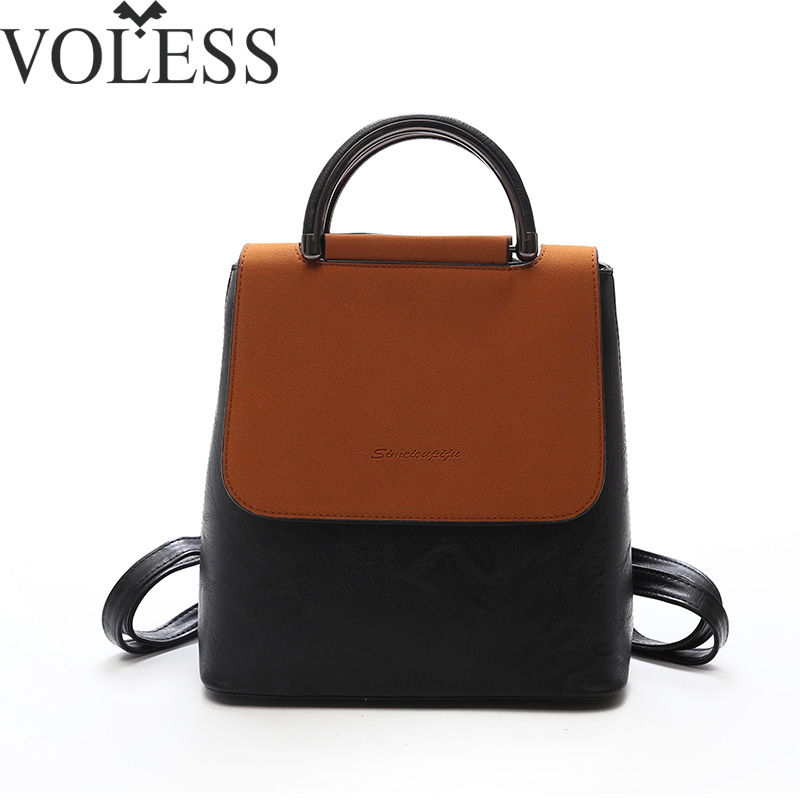 VOLESS Patchwork Women Backpack High Quality PU Leather School Backpacks For Teenage Girls Casual Shoulder Bags Backpack mochila