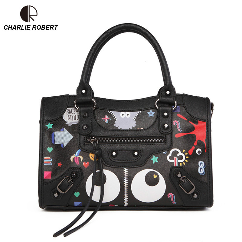 2018 New Hot Luxury Black & White Graffiti Handbags Women Bags Designer Zipper Letter PU Fashion Shoulder & Crossbody Bags Flap yanxi new 2016 new hot women patchwork good pu leather tote fashion versatile zipper handbags us dollar designer shoulder bags