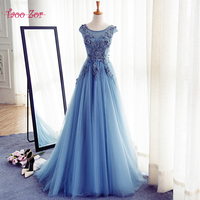 TaooZor Romantic Appliques Tulle Over Lace A Line Prom Dresses 2017 Pearls O neck Beading Belt Lace Up Party Gown Formal Dresses