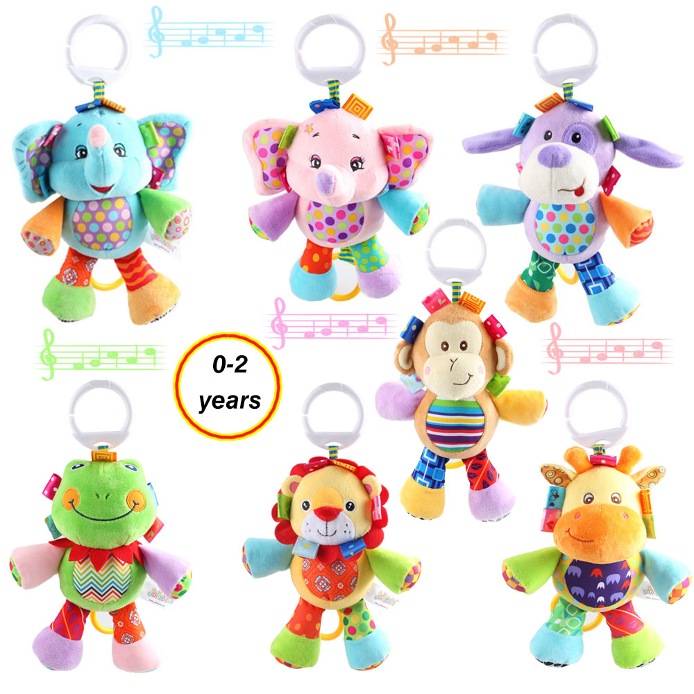Baby Toys 0-12 Months Animal Rattle Appease Doll Cute Elephant Lion Frog Dog Educational Toys For Newborns Babies Music Mobile