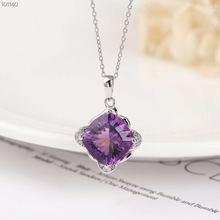 Ожерелье из серебра 925 пробы с натуральным фиолетовым аметистом