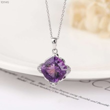 gemstone jewelry wholesale classic 925sterling silver natural purple amethyst charm pendant necklace