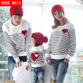 BEKE MATA Family Matching Clothing Spring 2017 Striped Matching Mother Daughter Clothes Family Look Father Son Sweater Sets