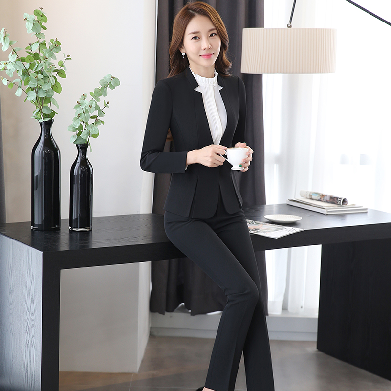 2 piece Gray Pant Suits Formal Ladies Office OL Uniform Designs Elegant Business Work Wear Jacket with Trousers Sets 1