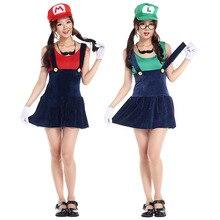 Fiesta de halloween traje de las mujeres de super mario super mario luigi brothers fancy dress cosplay de las mujeres