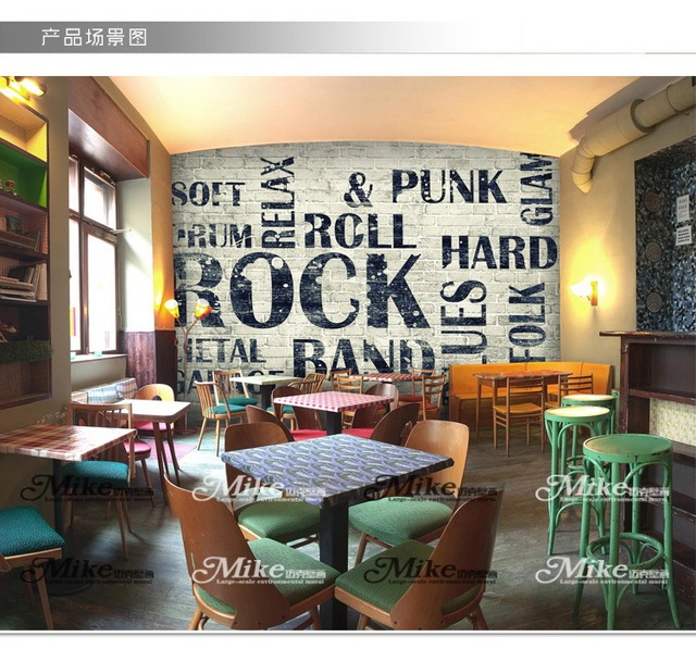 Buy 3d large mural wallpaper retro lounge for Cafe mural wallpaper