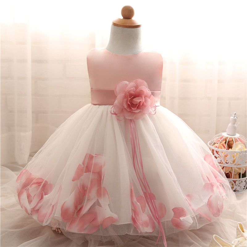 Petal Hem Baptism Newborn Wedding Girls Formal wear Summer 2018 Princess Birthday Party Dress girl clothes infant kids dresses summer children clothes princess flower print kids beach dress infant formal birthday party girl white dress family match outfit