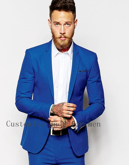Online Shop Fashion High Quality Royal Blue Men Business Suits ...