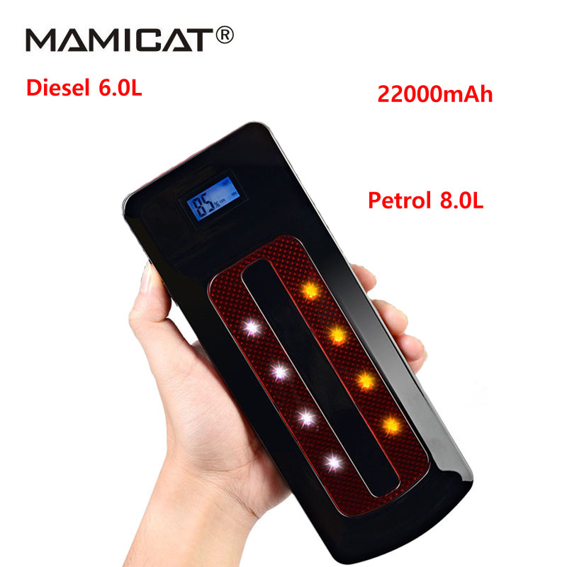 Petrol 8.0L Diesel 6.0L 22000mAh Car Jump Starter Portable Power Bank 12V Charger for Car Battery Starting Device Booster Buster 6l petrol 4l diesel 74000mwh car jump starter 800a peak car battery power pack 12v auto charger portable starting device bank