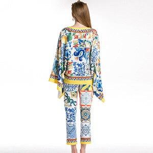 Image 3 - AELESEEN Fashion Runway 2 Piece Set 2018 porcelain Print Twinset Bow Batwing Sleeve Blusa Top + Calf Length Pencil Pants Suit