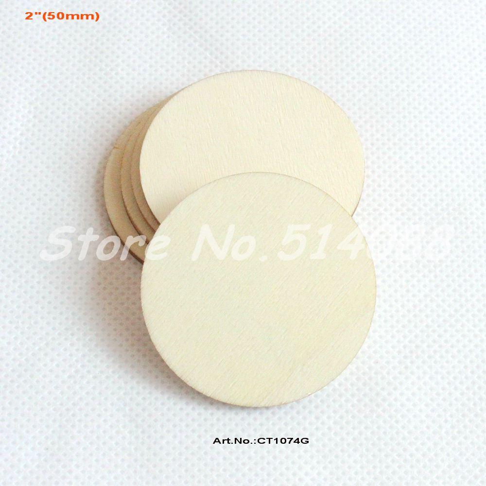 Wooden circles for crafts -  50pcs Lot 50mm Blank Cutout Circle Round Large Wood Disks Crafts Paint Decor Wooden Disc Diy 2 Ct1074g