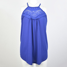 Fresh and sweet lace sleeveless round neck solid color loose casual shirt free shipping