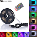 5M RGB LED Strip Waterproof tiras SMD 5050 LED Strip TV Tape Lighting 5V USB Computer Led Lighting with 24keys Remote Controller