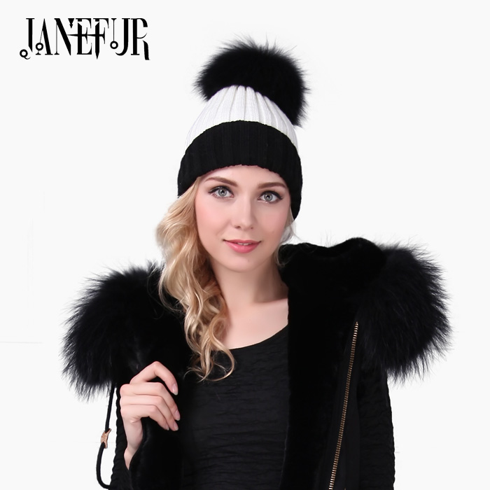 Winter Brand New Colorful Snow Caps Wool Knitted Beanie Hat With Raccoon Fur Pom Poms For Women Men Hip Hop Skullies Cap 2016 winter brand new colorful snow caps wool knitted beanie hat for women men hip hop cap skullies