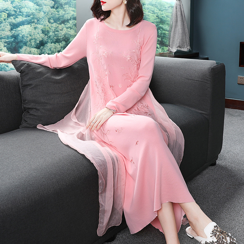 Haute Nouvelle Ciel Hiver Taille Pu 2019 La Qualité Manches Plus rose Robe Tricot Chandail Plein Lâche Femmes Printemps Robes Occasionnel Broderie xqI41fAw