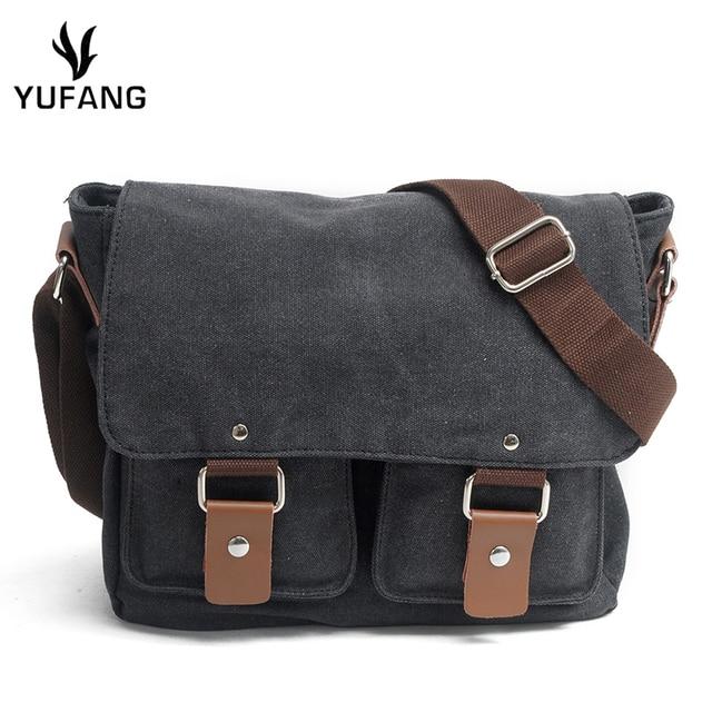 c940008587 YUFANG Men Vintage Canvas messenger bag crazy horse leather soft man travel bags  retro school bag hasp military style handbag