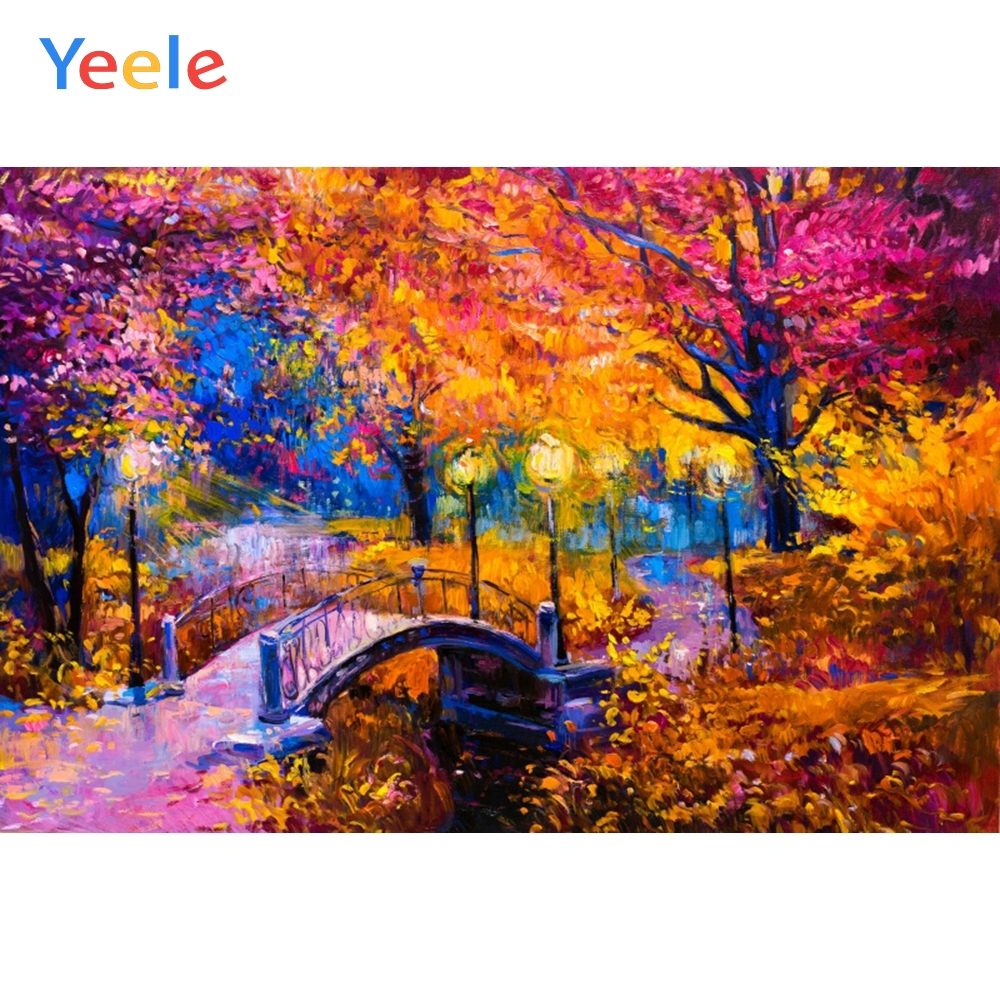 Yeele Photocall Forest Bridge Abstract Oil Painting Photography Backdrops Personalized Photographic Backgrounds For Photo Studio in Background from Consumer Electronics