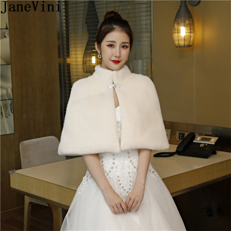 JaneVini 2019 High Neck Bride Fur Coats Beaded Faux Fur Women Shrug Evening Bolero Novia Ivory Wedding Dress Cape Wrap Shawl