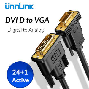 Unnlink Digital Active DVI-D 24+1 to VGA Cable Adapter DVI VGA Converter FHD1080P@60 for PC HDTV Projector computer graphic