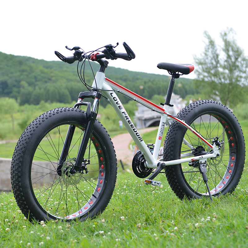 24 speeds Fat bike 26 inch  Fat Tire Snow Bicycle free shipping Shockingproof Frame cross-country aluminum frame mountain bike 17 inch mtb bike raw frame 26 aluminium alloy mountain bike frame bike suspension frame bicycle frame