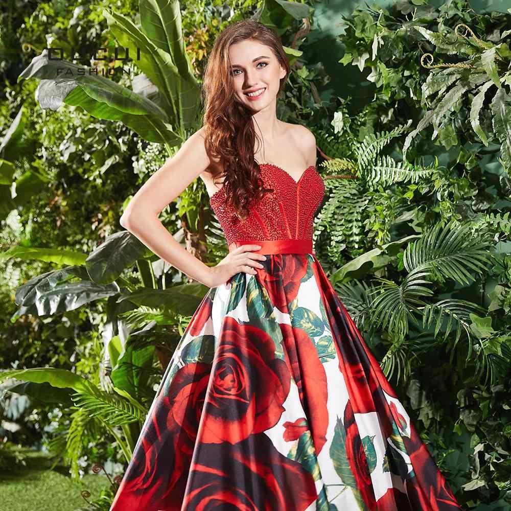 28e1c24e5fce ... Sweetheart Strapless Prom Dresses 2019 New Design Floral Print Sexy  Flowers Vestido Plus Size Women Dress ...