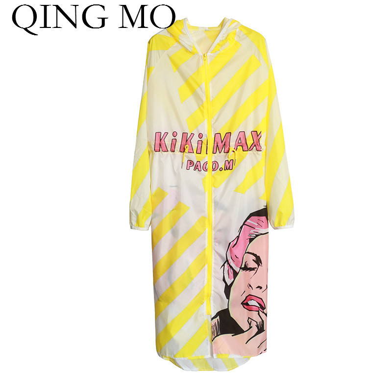 QING MO Character Print Shirt for Women 2018 Hooded Summer Tops Long Sleeve Sun-Protection Shirt Striped Thin Blouse ADQ273
