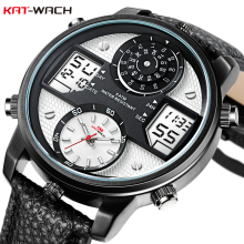 hot deal buy kat-wach men watch analog led digital watches clock leather creative small pointer dial waterproof wristwatch relogio masculino