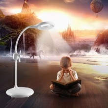 Multifunction LED Desk Lamp with Fan Touch Switch 3-level Dimmable Eye Care Student Reading Light for Study Room Bedroom