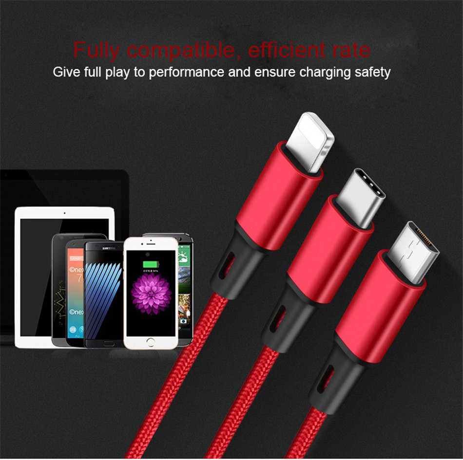 !ACCEZZ 3 in 1 Charging Cable Lighting For iPhone 8 Plus X XR XS Max Micro USB Type C For Samsung S8 Xiaomi 6 Charger Cord Line (7)
