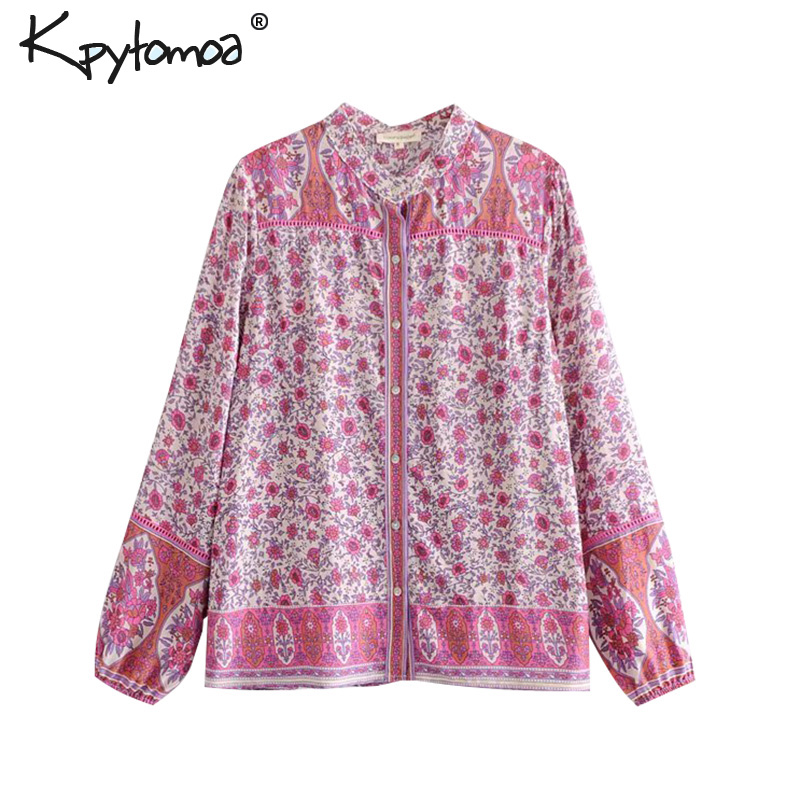 Boho Chic Summer Vintage Floral Print Buttons Tops Women 2019 Fashion O Neck Long Sleeve Beach   Blouses     Shirts   Blusas Mujer