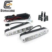 Eonstime 2 Pcs Universel Super Bright Voiture Feux de jour 5 LED DRL Daylight Blanc 9-30 V DC tête Lampe 10 W