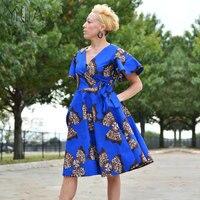 Yilia Women Dress Ghana African Print Clothing 2018 Summer New Sexy A Line Fashion Beach Party