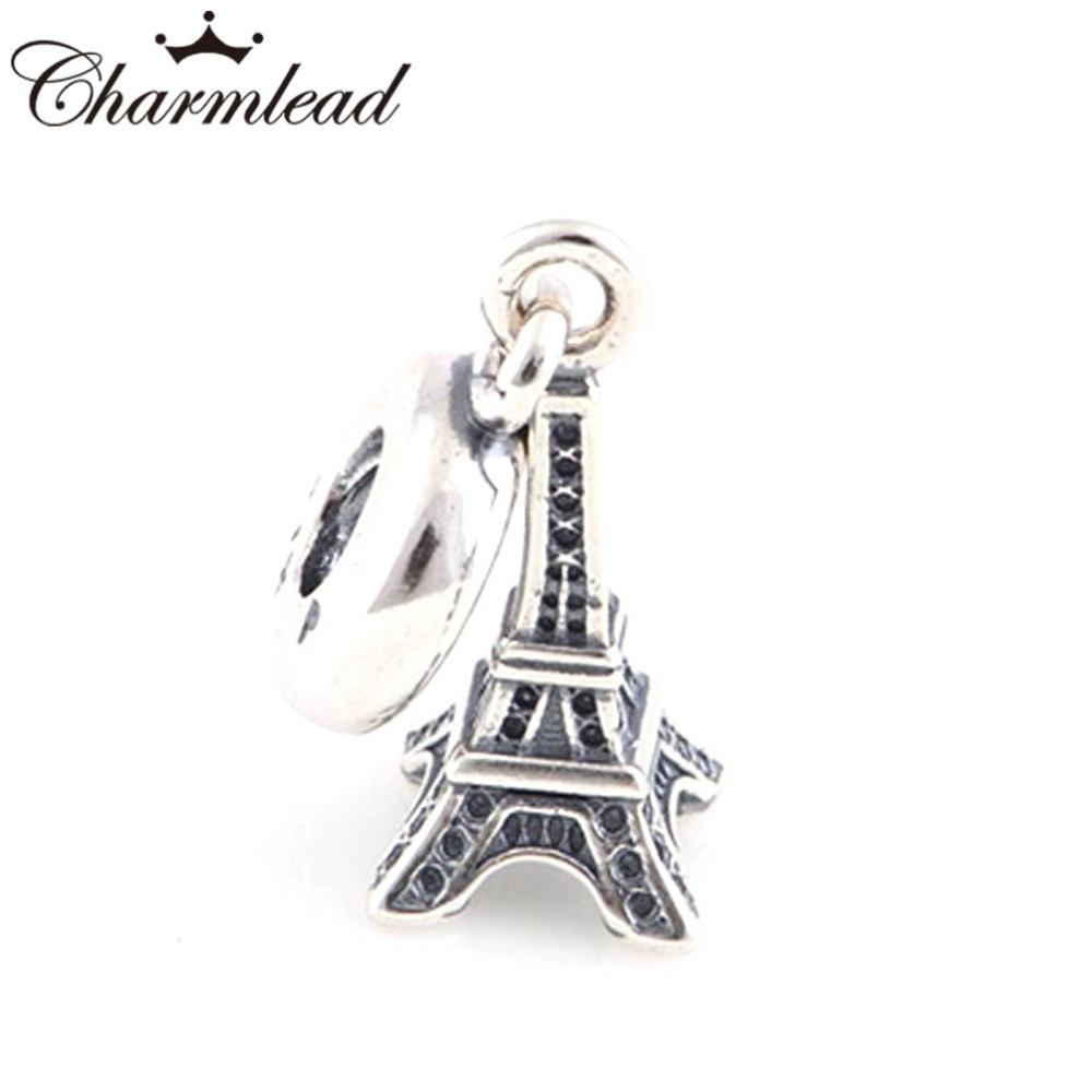 2d25962f0 Fits Pandora Charms Bracelet Original 925 Sterling Silver Eiffel Tower  Charm Pendant Vintage Bead DIY for Women Jewelry-in Beads from Jewelry &  Accessories ...