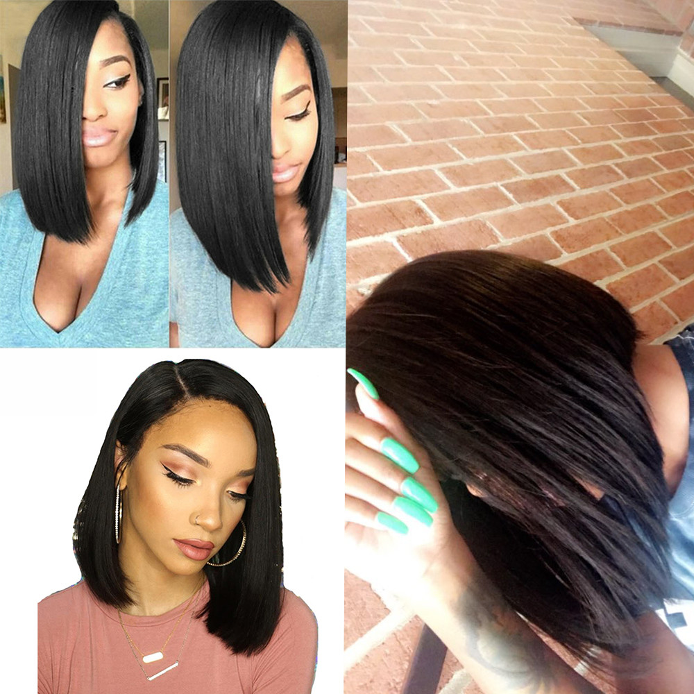 SALE European American New Hot Women Girl Natural Glueless Bob Wig Brazilian Straight Short Lace Hair Wigs For Black Women Gift