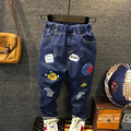 2017 Otoño nuevos niños Coreanos pantalones vaqueros de impresión de dibujos animados para niños jeans de moda tamaño 90-130