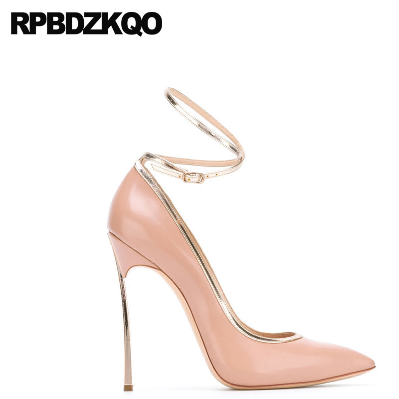 6b328c8664cfb 12cm 5 Inch High Heels 10 42 Women Leather Grey Shoes Pointed Toe  Crossdresser Scarpin Plus Size Pink 11 43 Pumps Ankle Strap